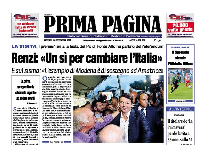 Prima Pagina - Venerdì 16 Settembre 2016