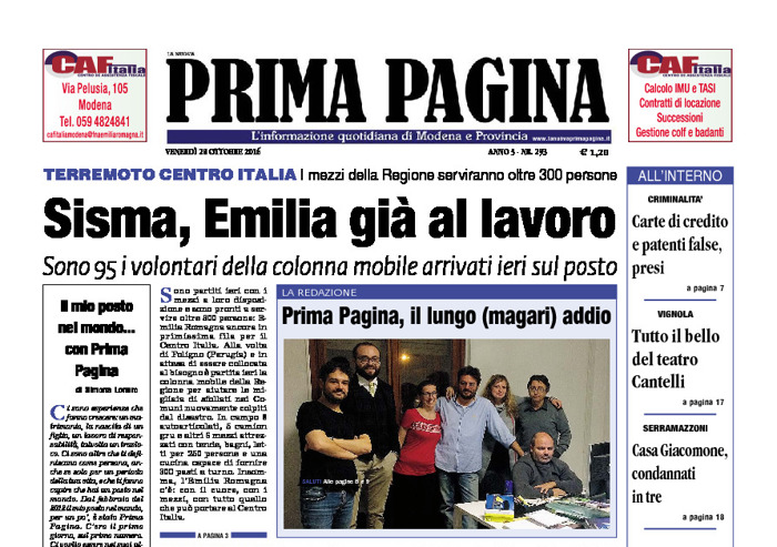 Prima Pagina - Venerdì 28 Ottobre 2016
