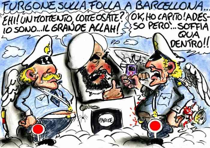 Orrore a Barcellona: per deridere i vigliacchi assassini