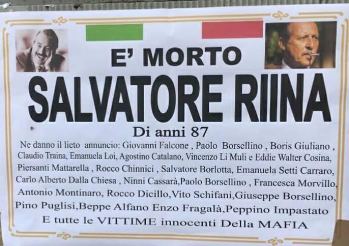 E' morto Riina: manifesto funebre (anonimo) per festeggiare