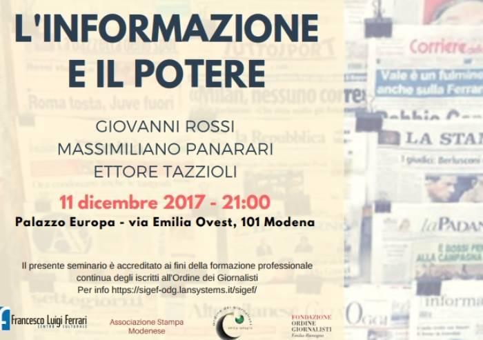 Informazione e potere a Modena: l'esperto è il direttore di Trc