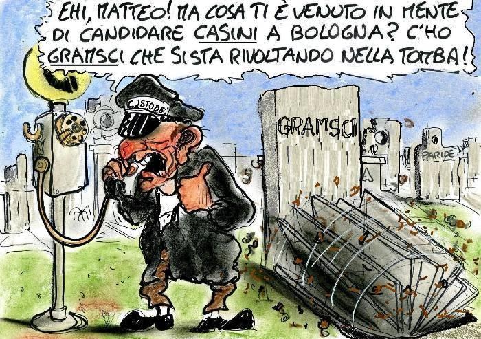 Casini a Bologna per il Pd: la tomba di Gramsci