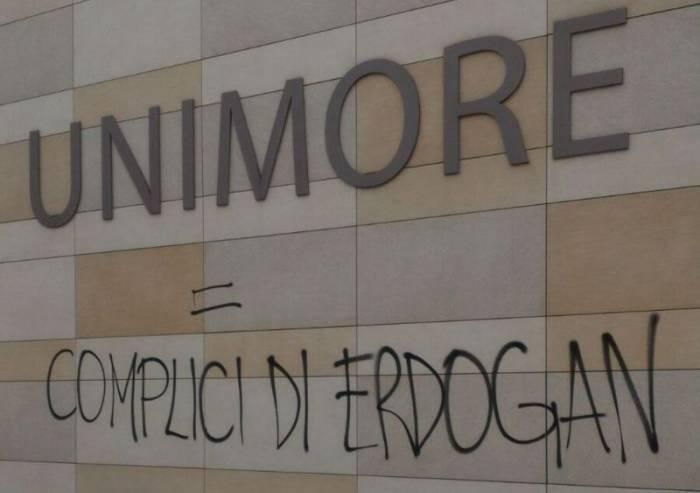 Vandali nella notte all'Unimore: ferma condanna