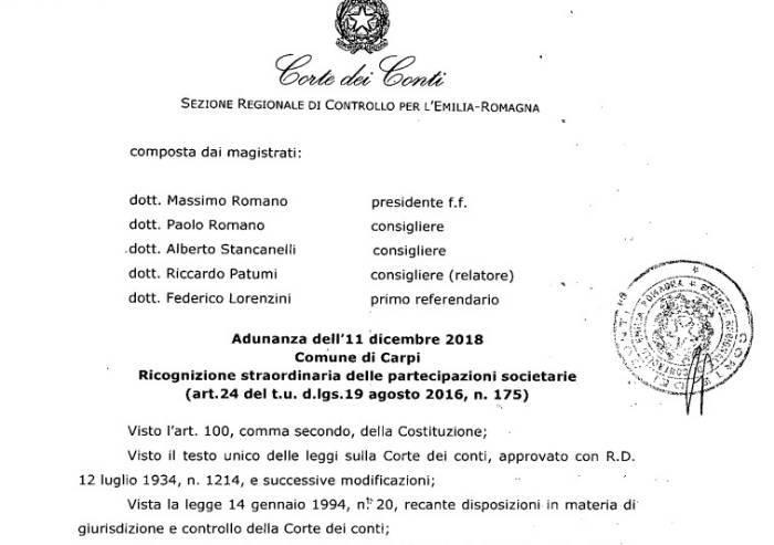 Partecipate Carpi, la Corte dei Conti chiede di dismettere quote Aimag