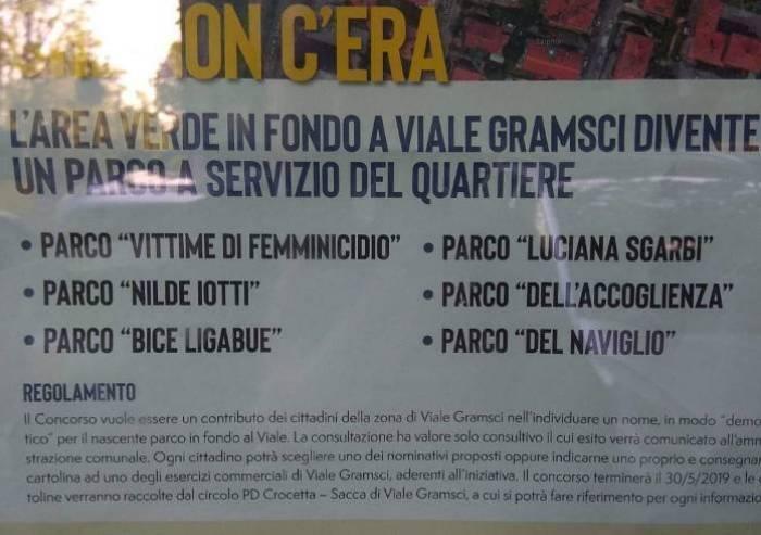 Nuovo nome al parco di viale Gramsci, inaugurazione con propaganda PD