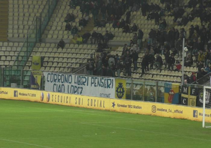 Addio Lopez, tributo del Modena calcio al tifoso scomparso