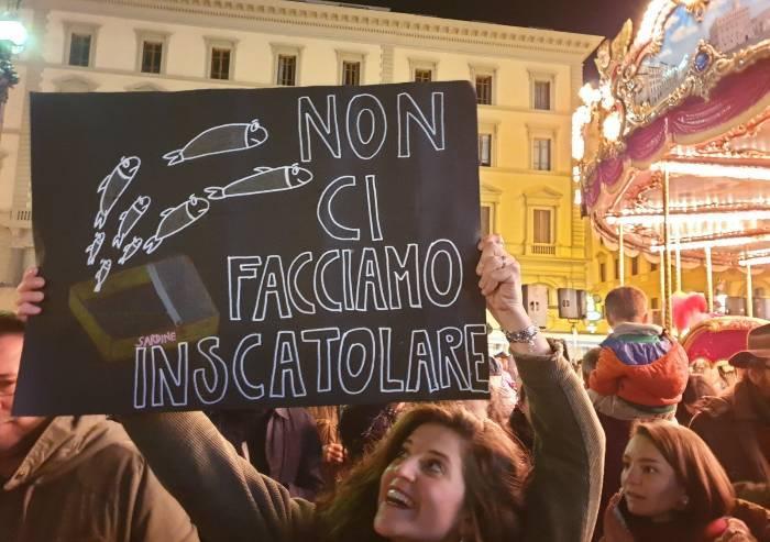 Sardine a Firenze: 'No Lega e no a pagliacciate di Fratelli d'Italia'
