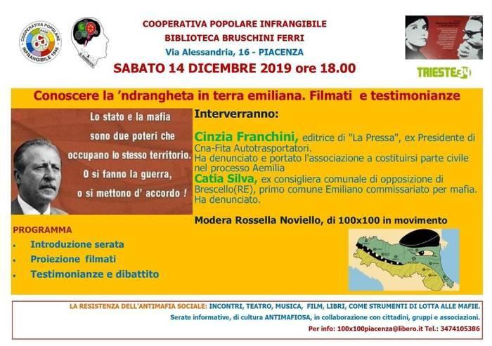 La Ndrangheta in Emilia Romagna: sabato incontro a Piacenza