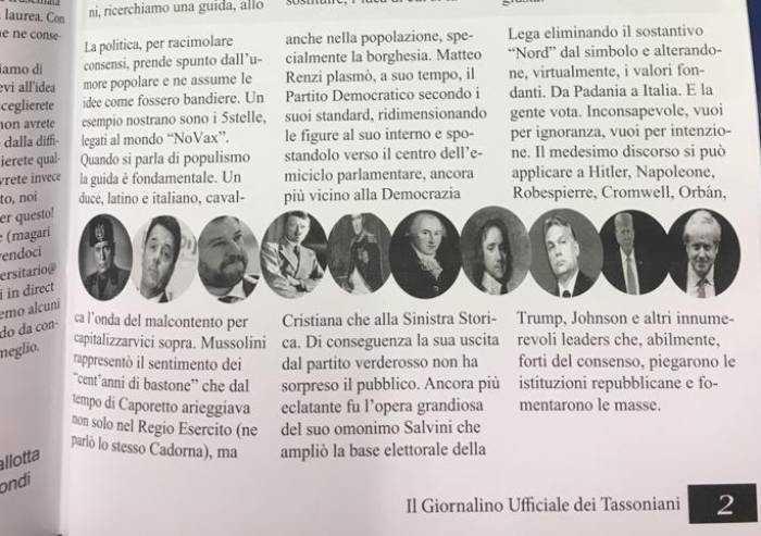 'Parallelo Hitler-Salvini sul giornalino del liceo, come è possibile?'