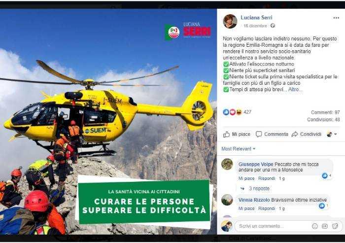 Meraviglie Pd, spot elisoccorso in Emilia: ma elicottero è del Veneto