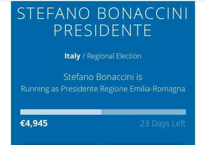 Regionali, Bonaccini raccolta fondi on line per essere rieletto: in poche ore 5mila euro
