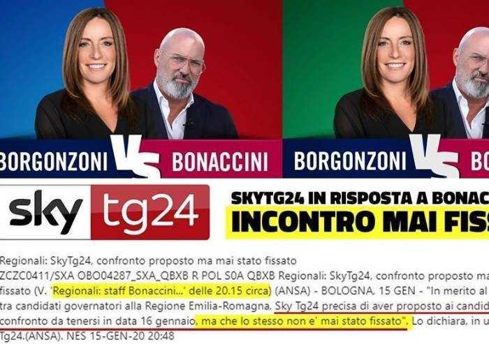 Confronti TV, Borgonzoni: 'Bonaccini stucchevole, smentito anche da SKY'