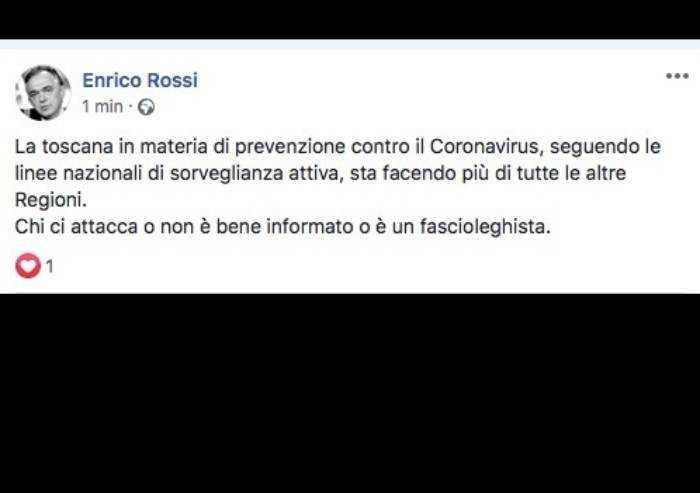 Coronavirus, Presidente Toscana: 'Chi ci attacca è fascioleghista'