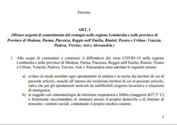 Coronavirus, il Governo chiude anche la provincia di Modena