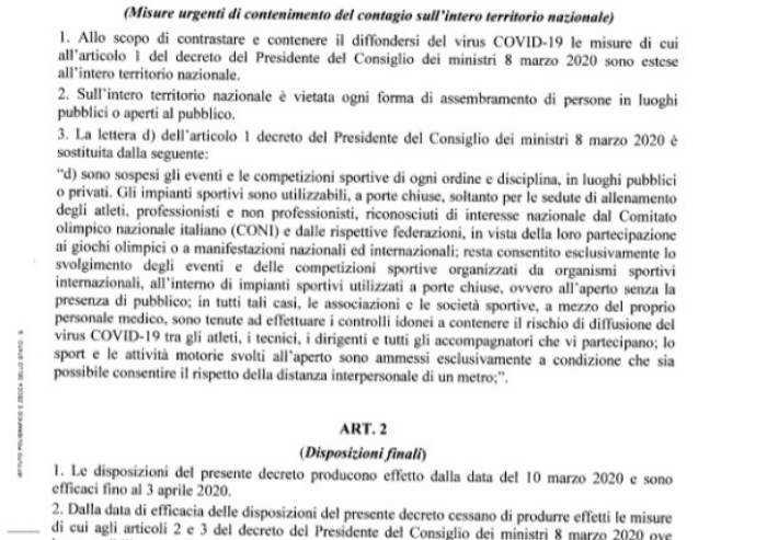 Il testo del nuovo decreto che per Modena non cambia nulla
