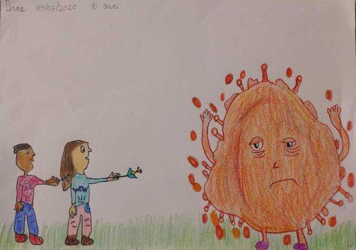 Sguardo dei bimbi: un fiore per difendere il fratello dal coronavirus