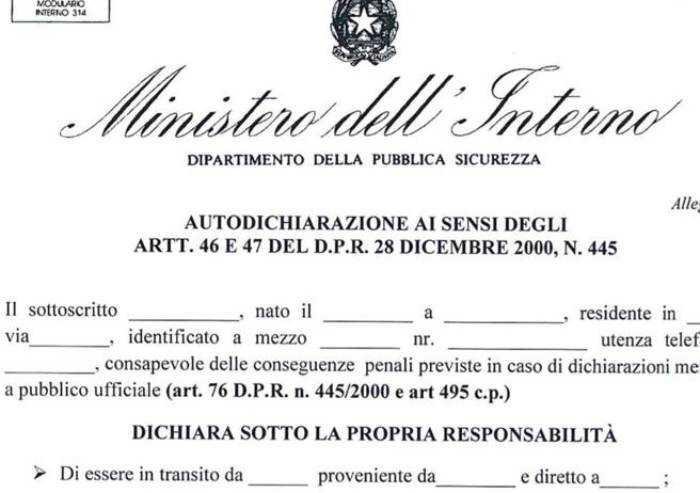 Coronavirus, Prefettura di Modena: 'Usate modulo prestampato'