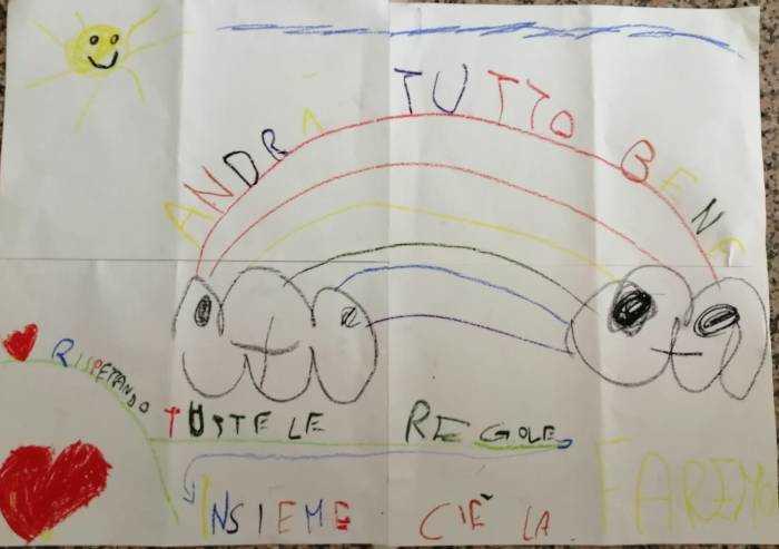 Disegni contro coronavirus, Mattia e Christian: 'Insieme ce la faremo'