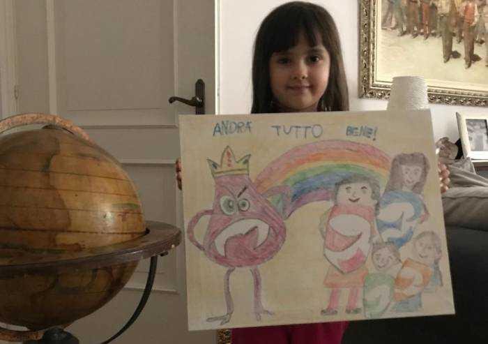 Nel disegno di Giulia, una famiglia unita contro il coronavirus