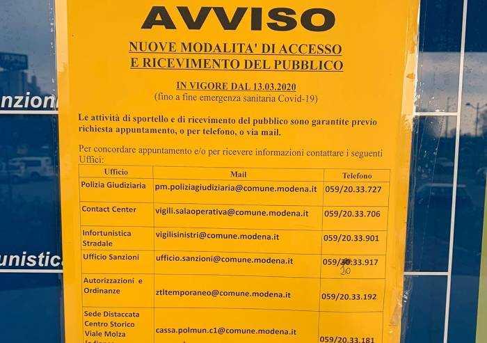 Coronavirus, polizia municipale e uffici comunali: accesso telefonico