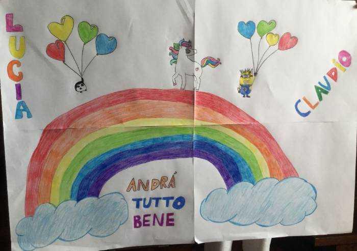 Lucia e Claudio, un unicorno sopra all'arcobaleno
