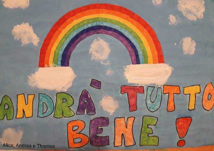 Alice, Andrea e Thomas disegnano un cielo azzurro