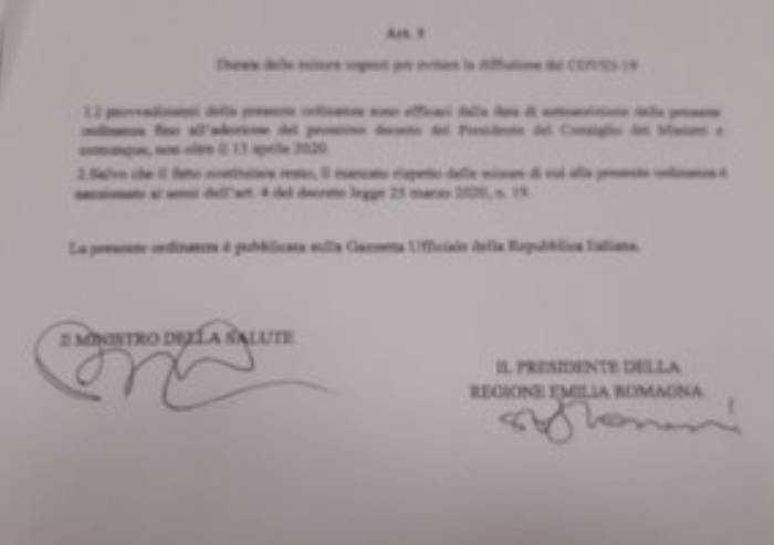 Anche la Regione Emilia-Romagna proroga tutti gli stop al 13 aprile
