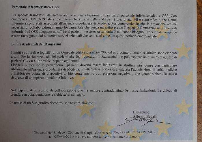 Carpi, Ramazzini saturo: il sindaco chiede unità mediche prefabbricate