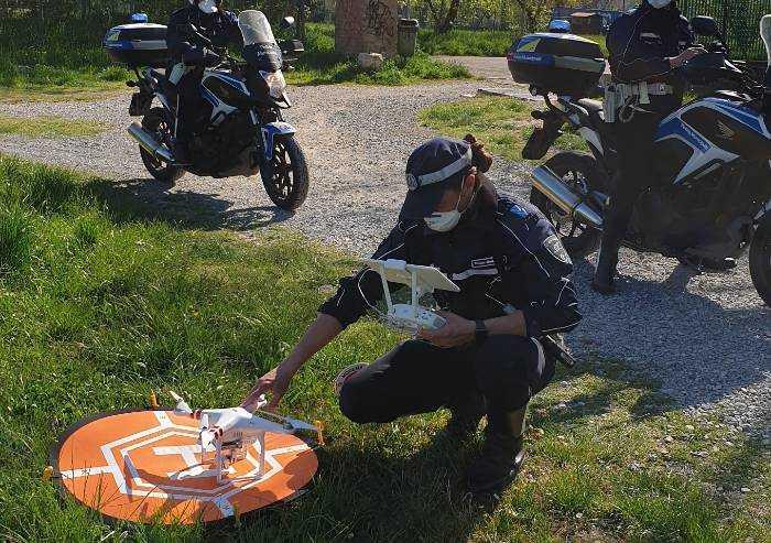 Controlli Coronavirus, anche i vigili urbani di Modena usano il drone