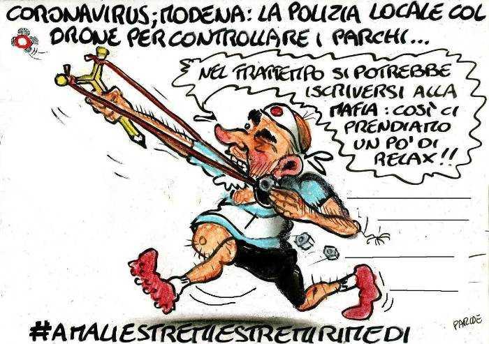Caccia spietata al runner: la polizia municipale col drone!