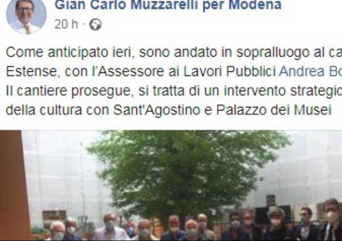 Sindaco al cantiere dell'ex ospedale Estense, su FB piovono critiche