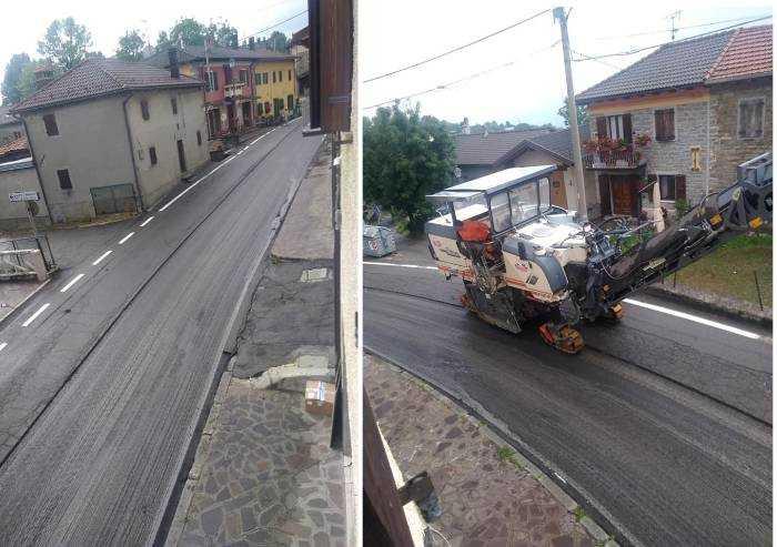 'Follia a Frassinoro: prima si tracciano linee bianche poi si asfalta'