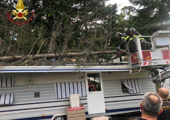 Forte vento, albero cade su caravan, paura a Serramazzoni