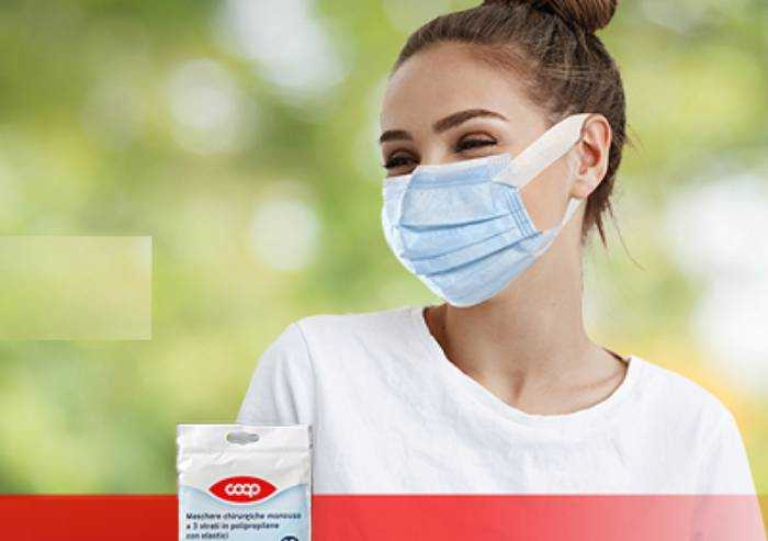 'Coop, le mascherine a 30 cent hanno capacità filtrante del 98%'