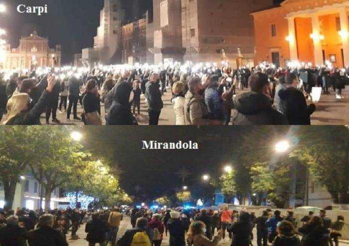 Carpi e Mirandola, ristoratori (e non solo), in piazza contro il DPCM