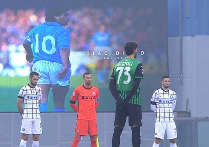Al Mapei si ricorda Maradona poi l'Inter batte il Sassuolo 3-0