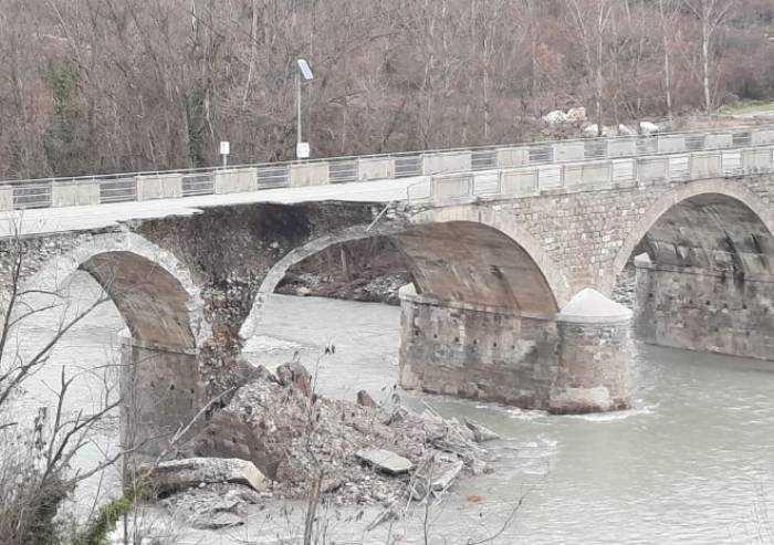 Ponte Samone, nuovo crollo dopo la piena del 6 dicembre