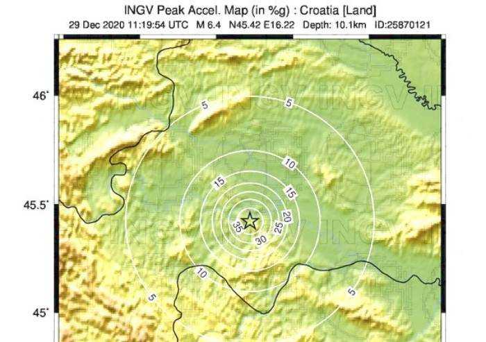Fortissimo terremoto 6.4 in Croazia, avvertito anche a Modena