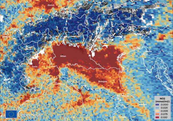 Inquinamento biossido azoto, dal satellite la Pianura Padana fa paura
