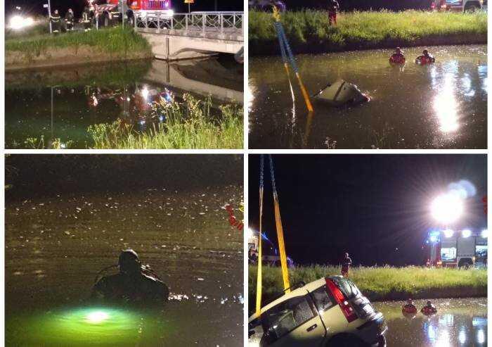 Con l'auto nel canale, in tre riescono a salvarsi