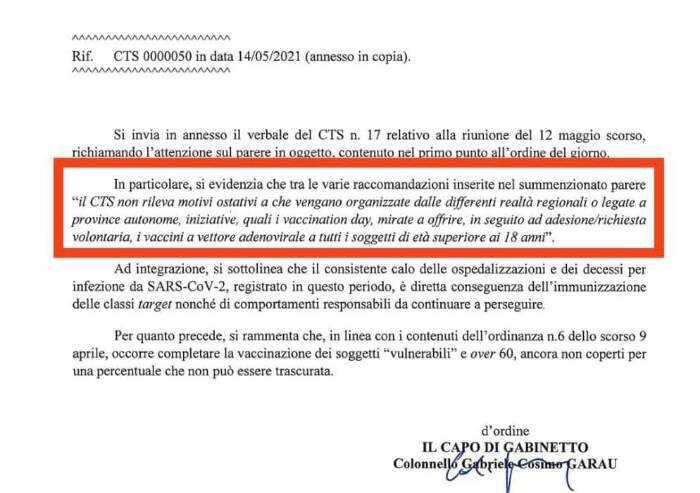 AstraZeneca, Toti inchioda il CTS e pubblica la lettera che dava ok