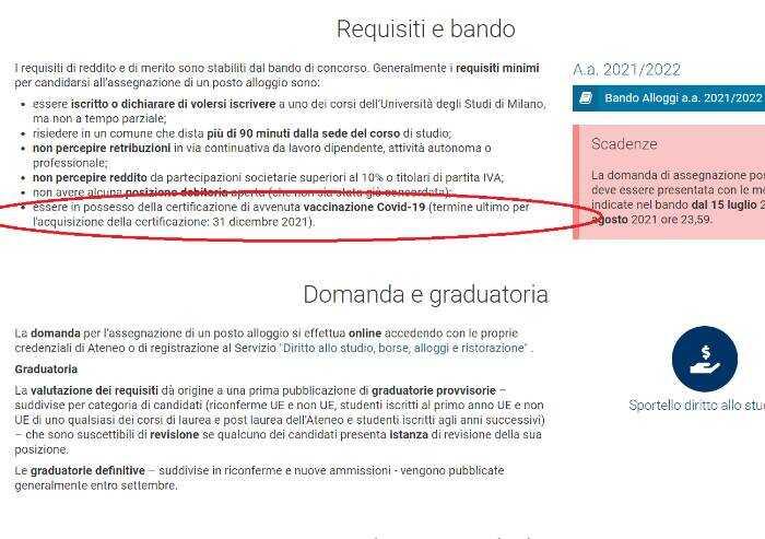 E l'Università di Milano nega l'alloggio agevolato per i non vaccinati