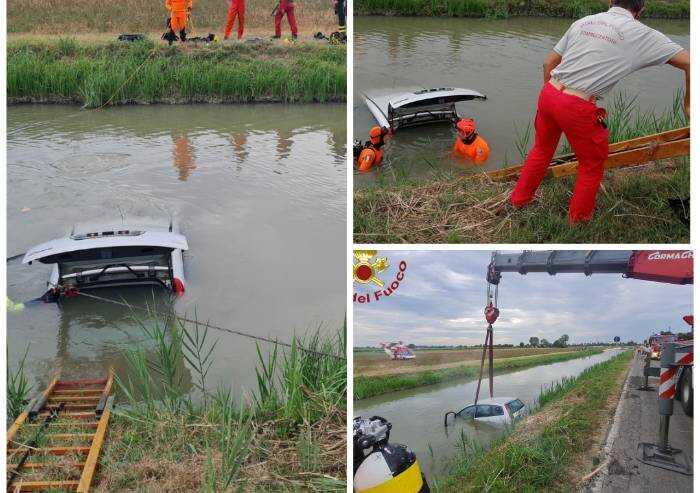 Finisce nel canale con l'auto, salvata da un ragazzo