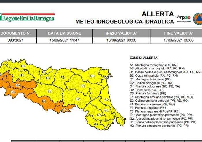 Temporali a Modena, domani allerta arancione in Appennino
