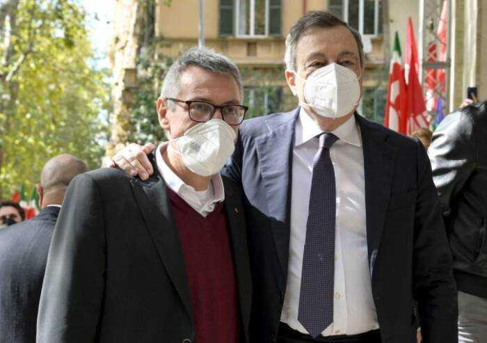 Dopo il vergognoso blitz neofascista Draghi abbraccia Landini